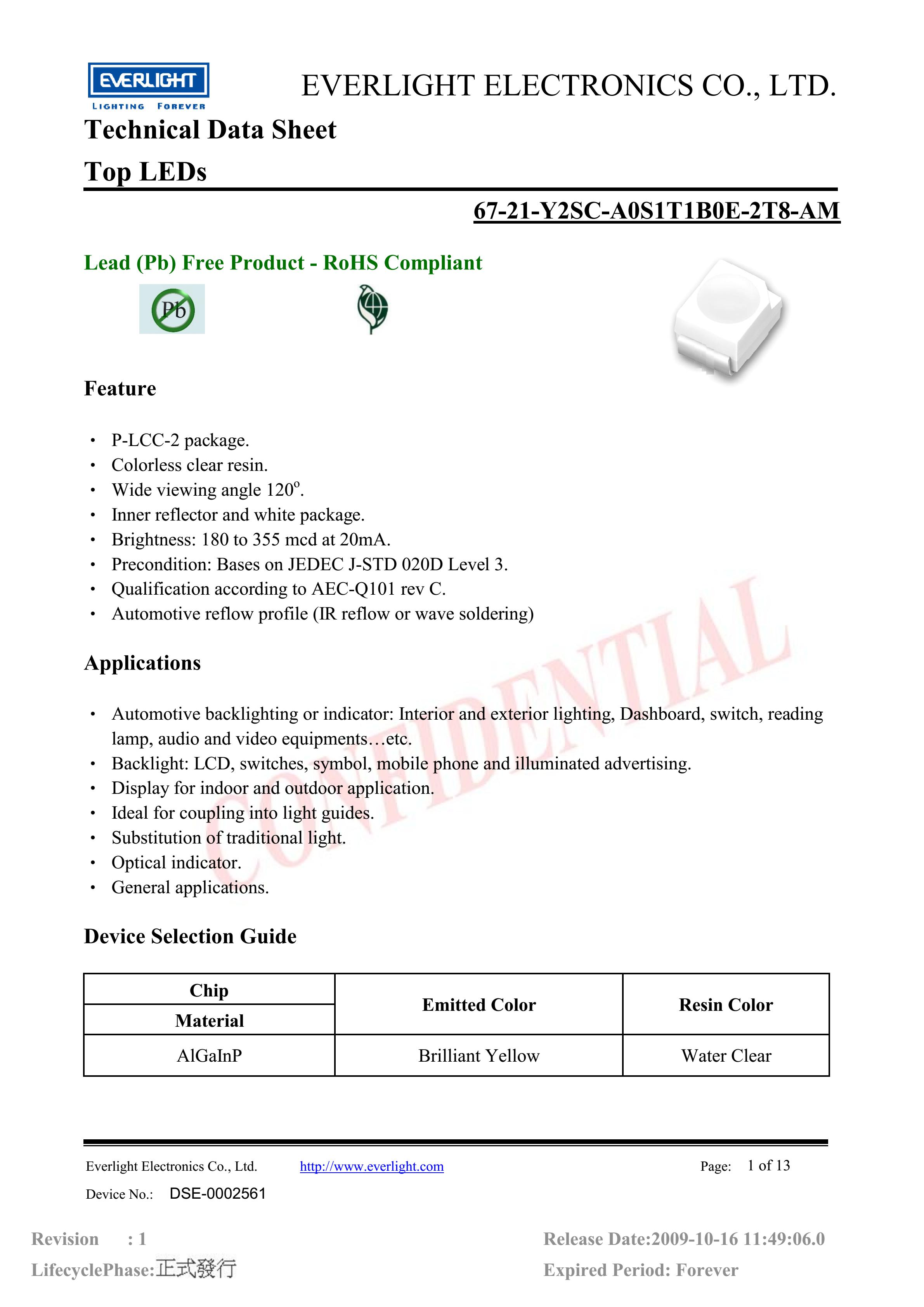 everlight 3528 Car lamp beads 67-21-Y2SC-A0S1T1B0E-2T8-AM Datasheet