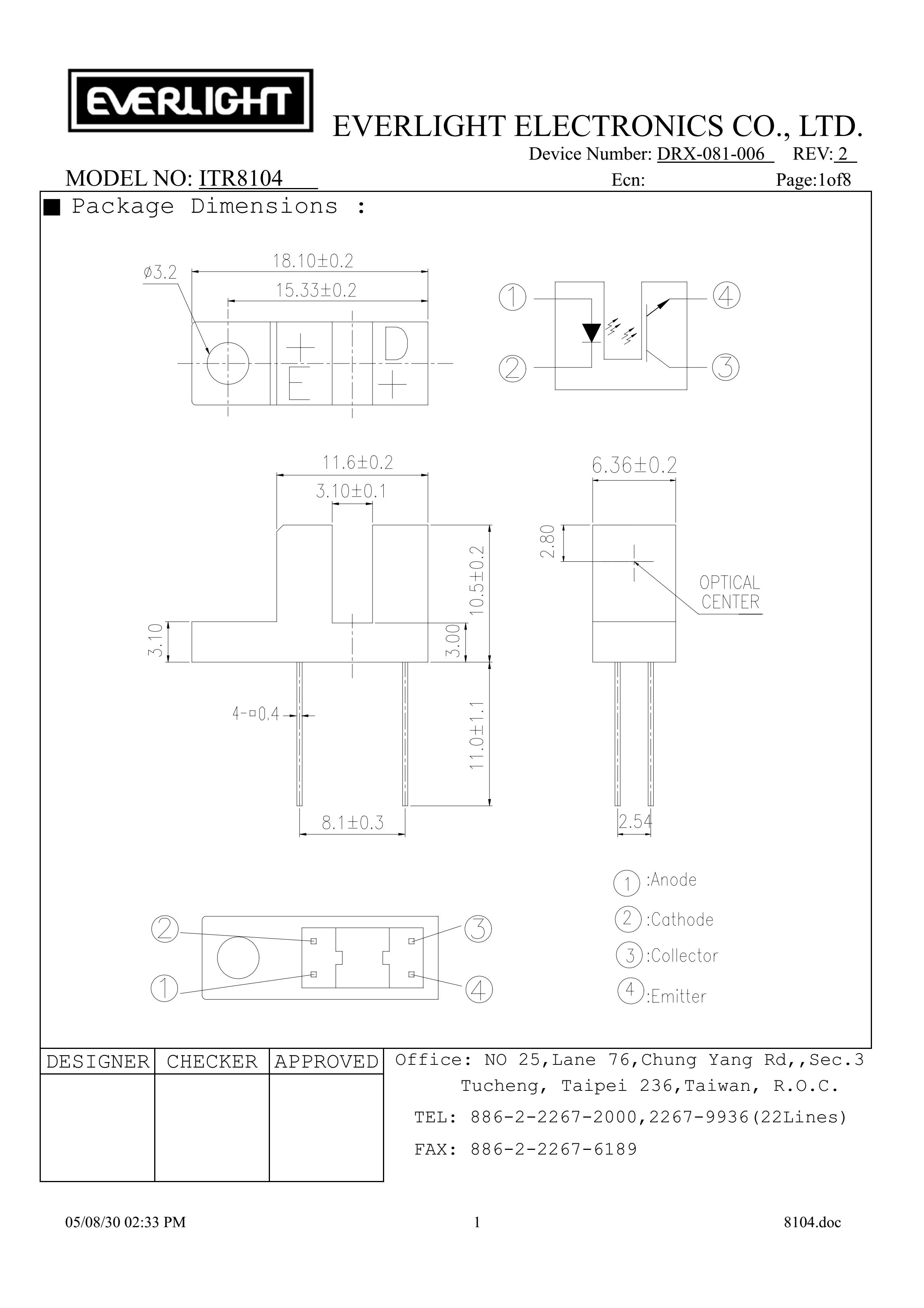 EVERLIGHT Optical Switch ITR8104 Opto Interrupter Datasheet