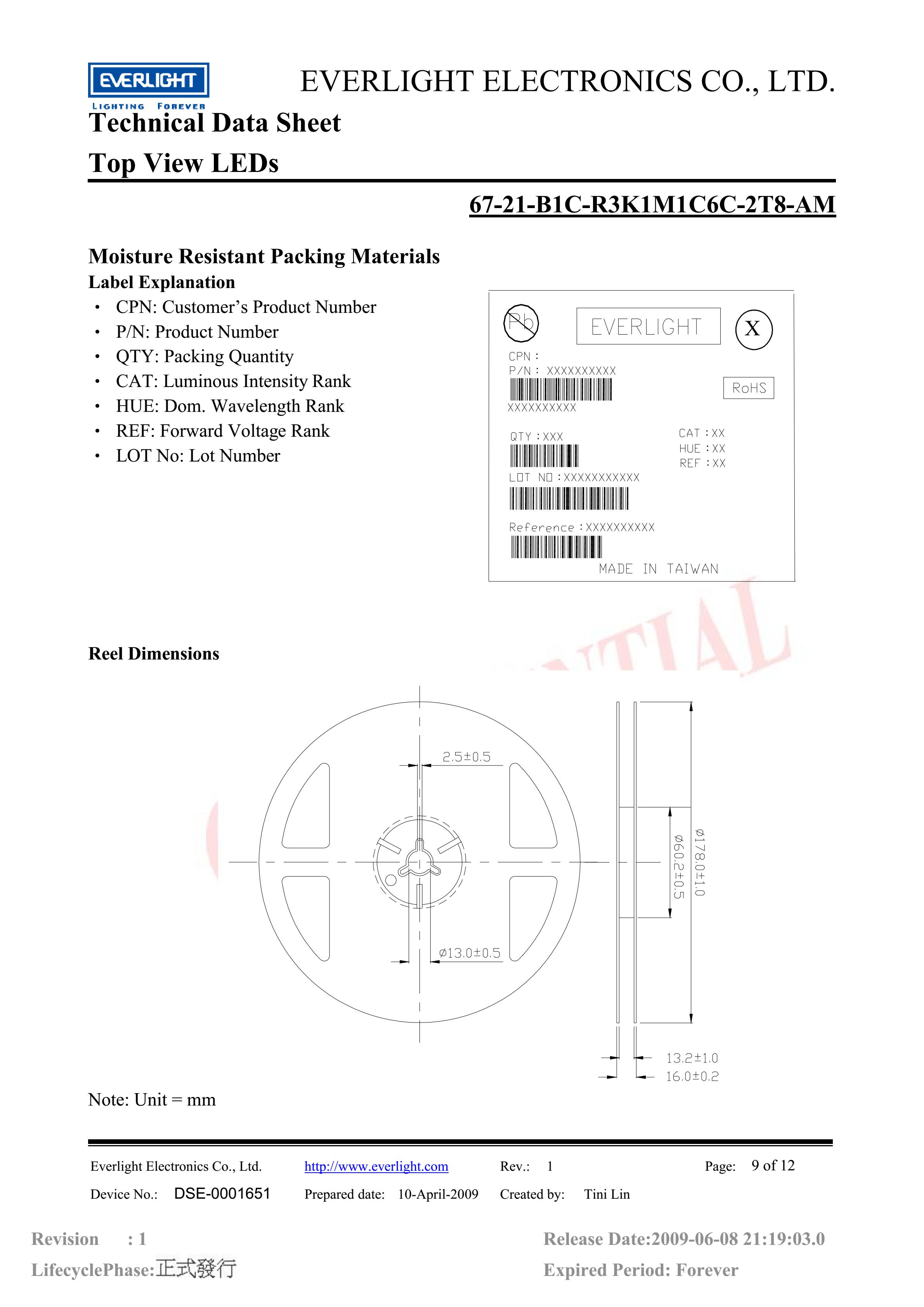 everlight 3528 Car lamp beads 67-21-B1C-R3K1M1C6C-2T8-AM blue Datasheet