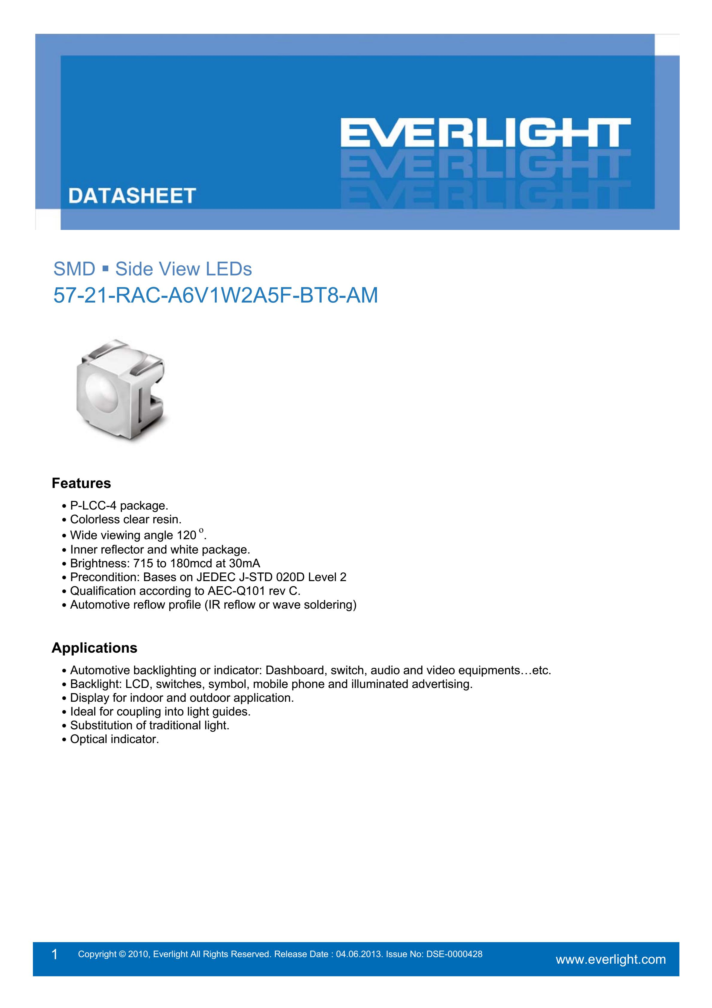 Everlight Car lamp beads  57-21-RAC-A6V1W2A5F-BT8-AM Datasheet