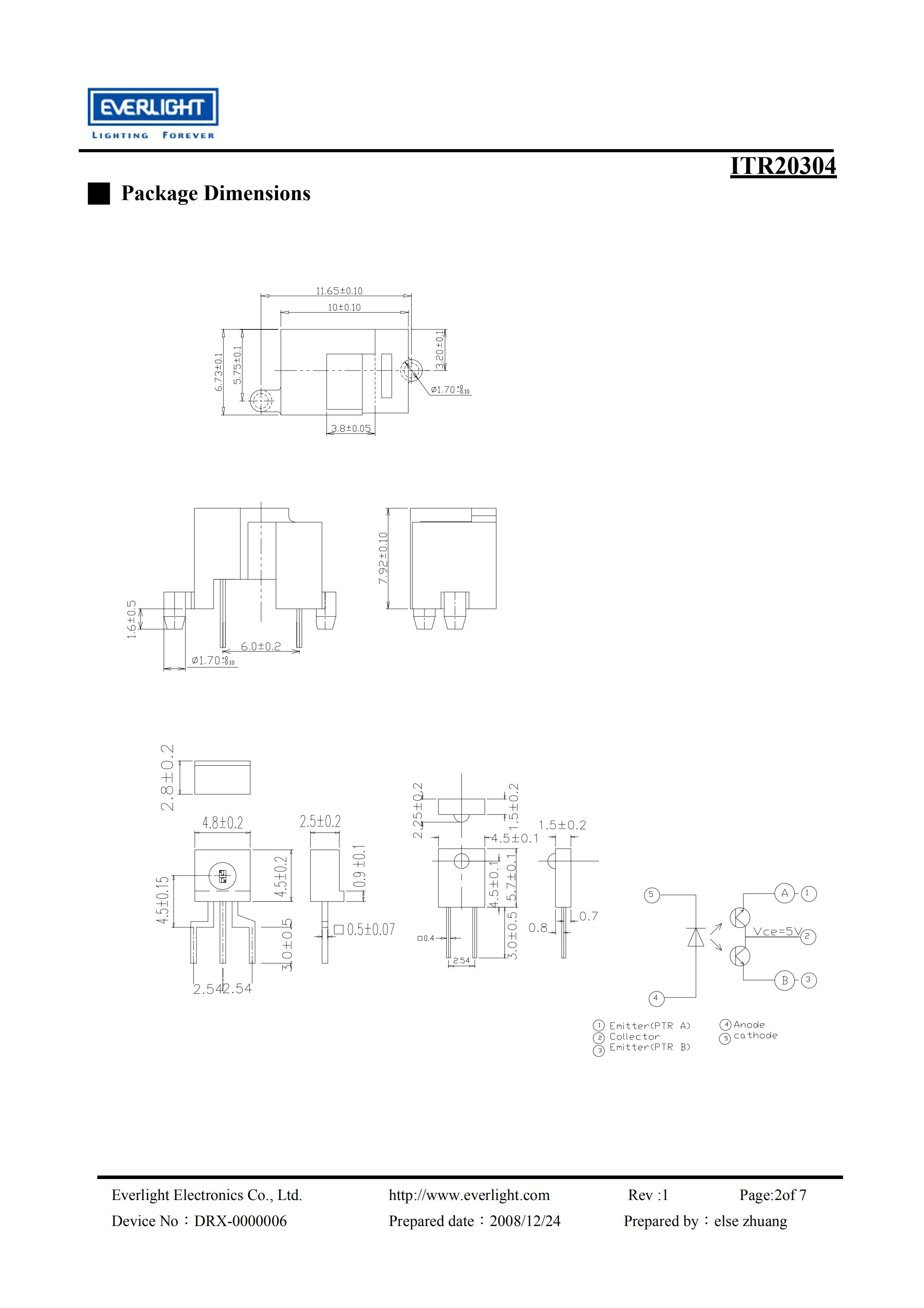 EVERLIGHT Optical Switch ITR20304 Opto Interrupter Datasheet